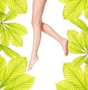 Ett par bara ben i luften med grona blad runt om mot en vit bakgrund