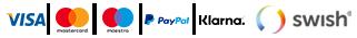 En liten bild som visar olika betalningsalternativen med visa, mastercard, klarna och paypal mot en svart bakgrund