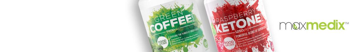 bildrubrik for maxmedix som visar Rasberry Ketone och Green coffee produkter