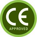 en gron ring med texten CE approved i mot en vit bakgrund