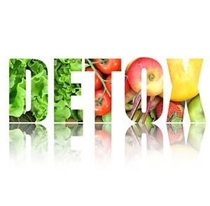 Kategorisida med ordet detox i fargglada farger mot en vit bakgrund