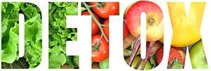 en text med detox dar bokstaverna ar fyllda med frukt och gront