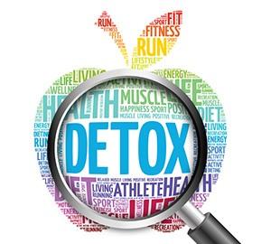 En massa ord formade som ett apple med ett forstoringslas som zoomar in på order Detox