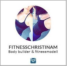 en kvinna pa liten instagrambild iford en waist trainer och traningsklader, en text under fitnesschristinam mot vit bakgrund