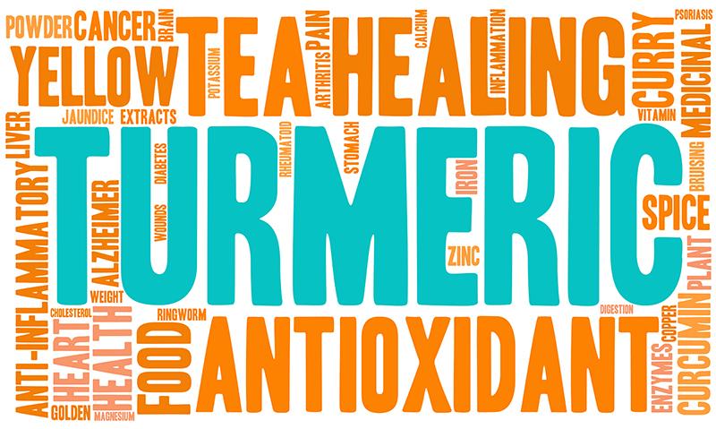 Infopgraphic med gurkmeja med ord som antioxidanter och pulver