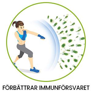 En tecknad figur som verkar bekämpa infektioner med hjälp av gurkmeja