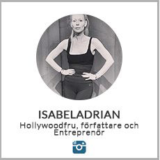 en liten instagrambild pa Isabela Adrian i svartvitt i traningaklader mot en vit bakgrund