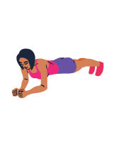 En kvinna ikladd traningsklader står i plankan med armbagarna i golvet