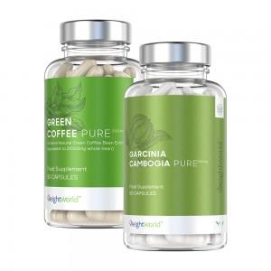 burkar med green coffee pure och garcinia cambogia pure, viktminskningstabletter eller kapslar, mot vit bakgrund.