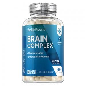 Produktbild for Brain Complex i bla forpackning från market WeightWorld. Burken innehåller 90 kapslar