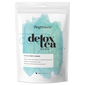 Tva Detox te forpackningar, en för morgon och en for kvall. Forpackningarna är silvrriga och visas mot en vit bakgrund
