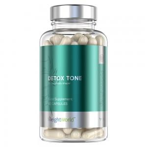 Produktbild för detox tone i en gronbla ton. Innehaller 90 kapslar från WeightWorld