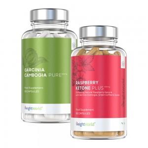 garcinia cambogia pure kapslar och raspberry ketone plus kapslar for viktminskning mot vit bakgrund