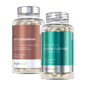 Produktbild på combopack med intensive colon cleanse och glucomannan mot en vit bakgrund