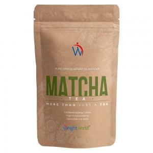 Produktbild för Matcha Tea. En brun forpackning med en WeightWorld logga mot en vit bakgrund
