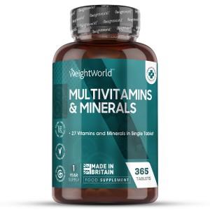 Multivitaminer och Mineraler 365 tabletter | Naturligt kosttillskott för välmåendet