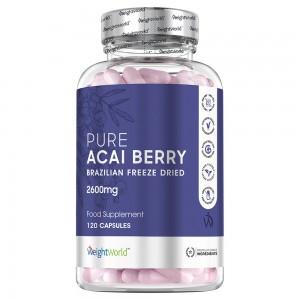 Produktbild för Acai Pure kosttillskott från maxmedics med 1500mg styrka. Burken gar i lila farger med en vit bakgrund