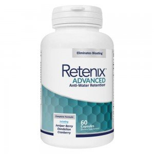 Produktbild Retenix Advanced med vita och turkosa farger. Burken innehaller 60 kapslar. Vit bakgrund
