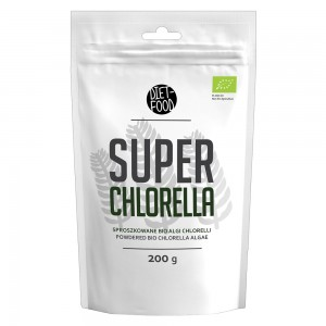 Produktbild för Super Chlorella från Diet-Food. Pasen innehaller 100g pulver