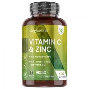 Kapslar med C-vitamin & Zink - Kosttillskott för välmåendet - WeightWorld