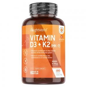 Vitamin D3 + K2 Tabletter | Kosttillskott för bibehållandet av normal benvävnad och ett normalt fungerande immunsystem