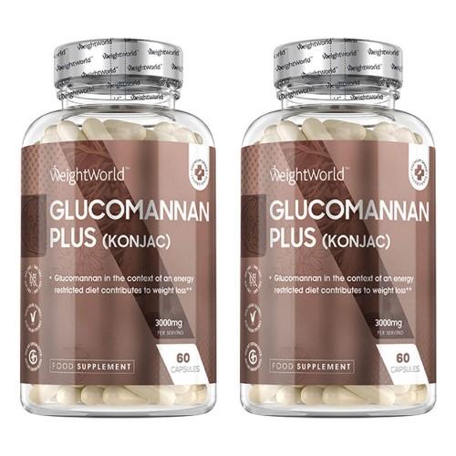 Glucomannan with Chromium and B6 - Mot problem med hunger och sötsug - 120 kapslar för 10 dagar - 2 pack