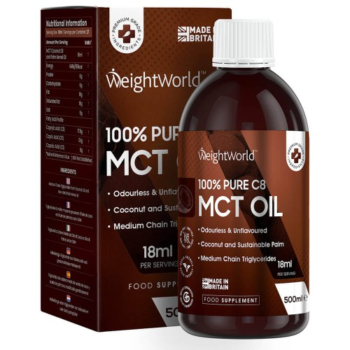 Mat Pure C8 MCT Oil - 500 ml flaska - Naturlig MCT olja - Viktminskning - Hjärnhälsa - Aptitnedsättande