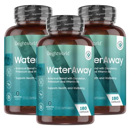 Mat Water Away - Urindrivande kosttillskott - Naturligt kosttillskott som kan rensa kroppen på överflödig vätska och gifter - 180 kapslar, 3 pack.