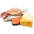 Bild på olika proteinrika livsmedel så som kott, lax och ost ligger på ett bord mot en vit bakgrund