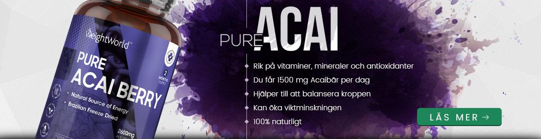 Produktbeskrivning på Pure Acai med en bild på burken i hornet. Bilden foljer samma lila ton och beskriver hur Pure Acai
