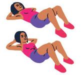 En kvinna som visar i tva steg hur man gor sit ups mot en vit bakgrund