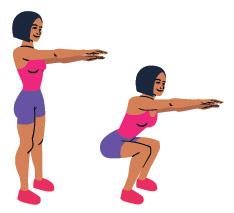 En kvinna som visar i tva steg hur man gor en mer avancerad squat mot en vit bakgrund
